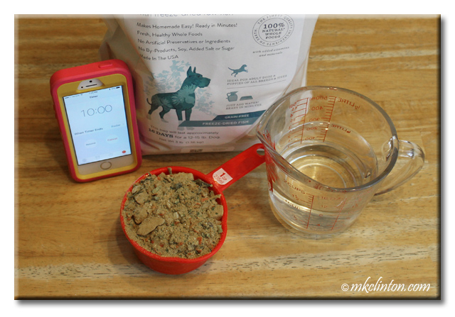 Oracle Grain-Free Fish Dog Food, water, iPhone timer and cup of food