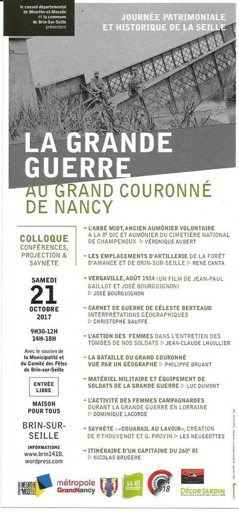 BRIN-SUR-SEILLE (54) - Journée patrimoniale : La Grande guerre au Grand Couronné de Nancy (21 oct 2017)