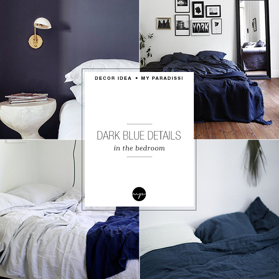 Dark blue details in the bedroom