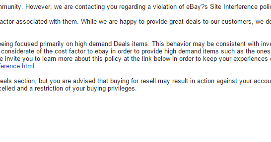 Oren S Money Saver Ebay Sends Out Site Violation Policies Mc999 Restricts Daily Deals Purchases