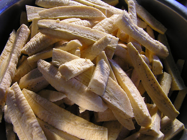 chopped green bananas