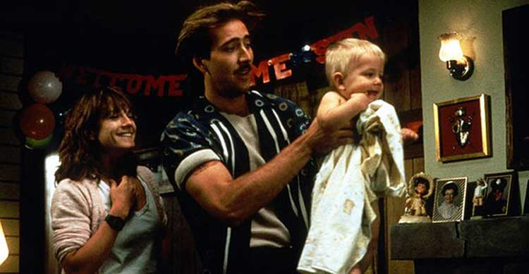 Nicholas Cage and Holly Hunter in Raising Arizona, directed by the Coen Brothers.
