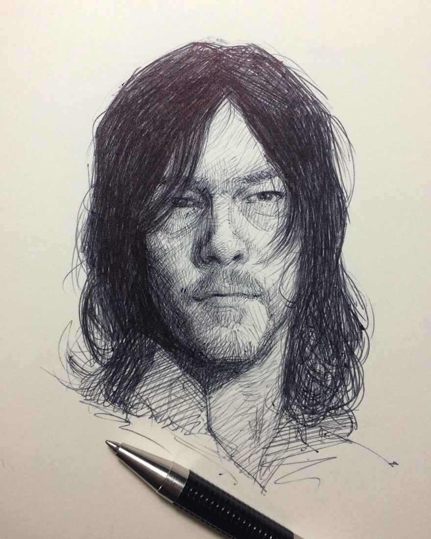 11-Daryl-Dixon-The-Walking-Dead-Arthur-Gains-Moleskine-Sketches-of-Celebrities-and-other-Portraits-www-designstack-co