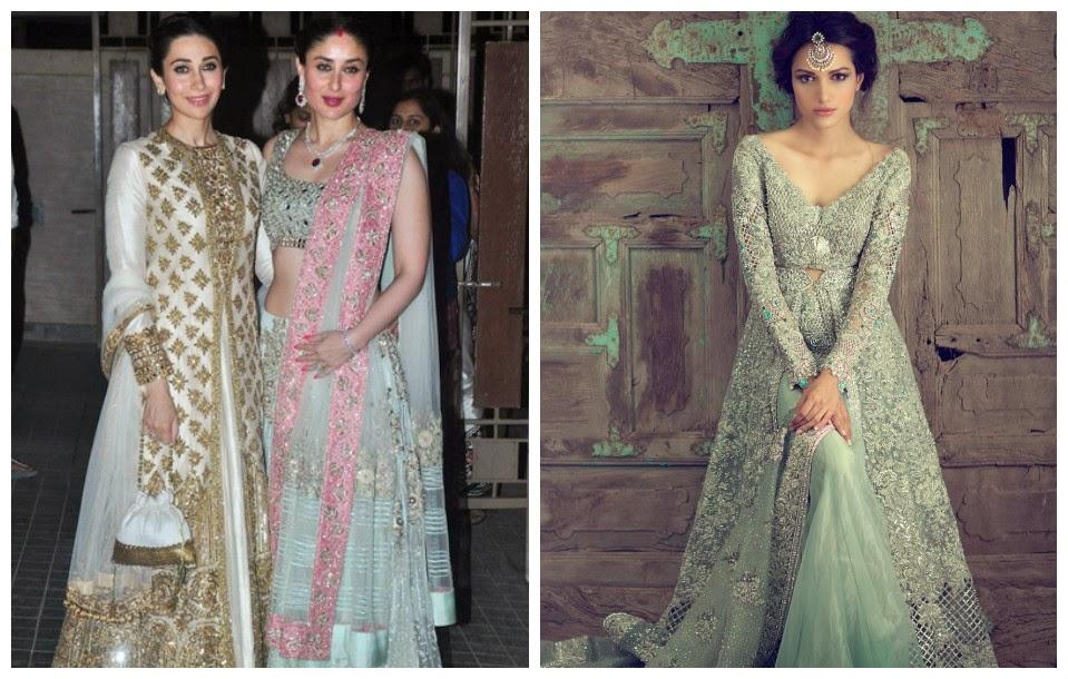 Karishma & Kareena Kapoor in Manish Malhotra, Elan bridal