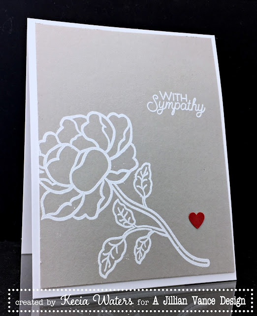 AJVD, Kecia Waters, rose, white embossing, sympathy