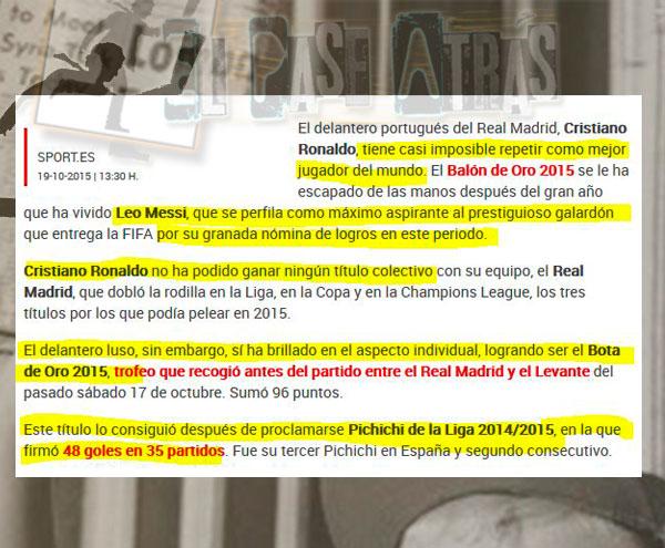 Asi trata la prensa del Barcelona a Cristiano en el BDO
