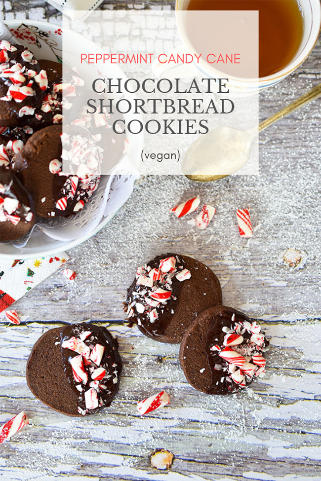 Peppermint Candy Cane Chocolate Shortbread Cookies (vegan)