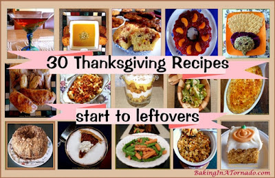 30 Thanksgiving Recipes, a roundup to help you plan your day from starters through leftovers | Recipes developed by www.BakingInATornado.com | #recipe #Thanksgiving