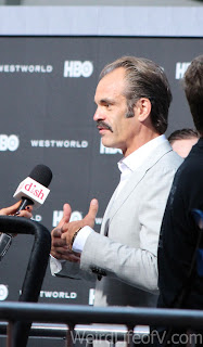 Steven Ogg being interviewed on the red carpet at the Westworld premiere in Hollywood.
