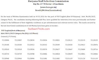 haryana ssc tgt result 2016