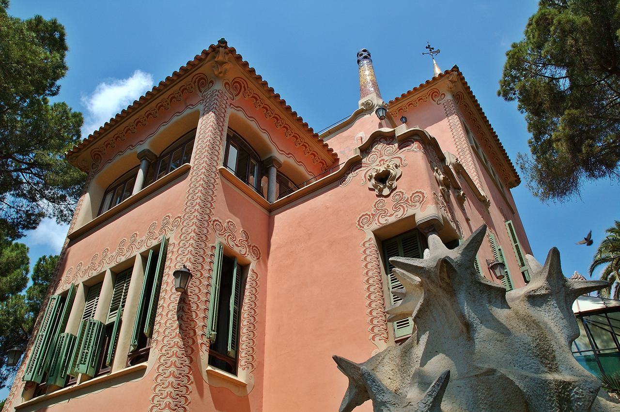 Pink house or Gaudi Museum at Park Guell