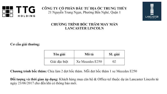 Căn hộ Lancaster Lincoln Quận 4 - Thông tin dự án và Bảng giá