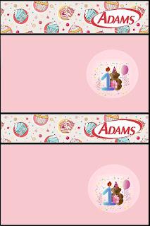 Etiquetas de Fiesta de Primer Año de nena, para chicles Adams.