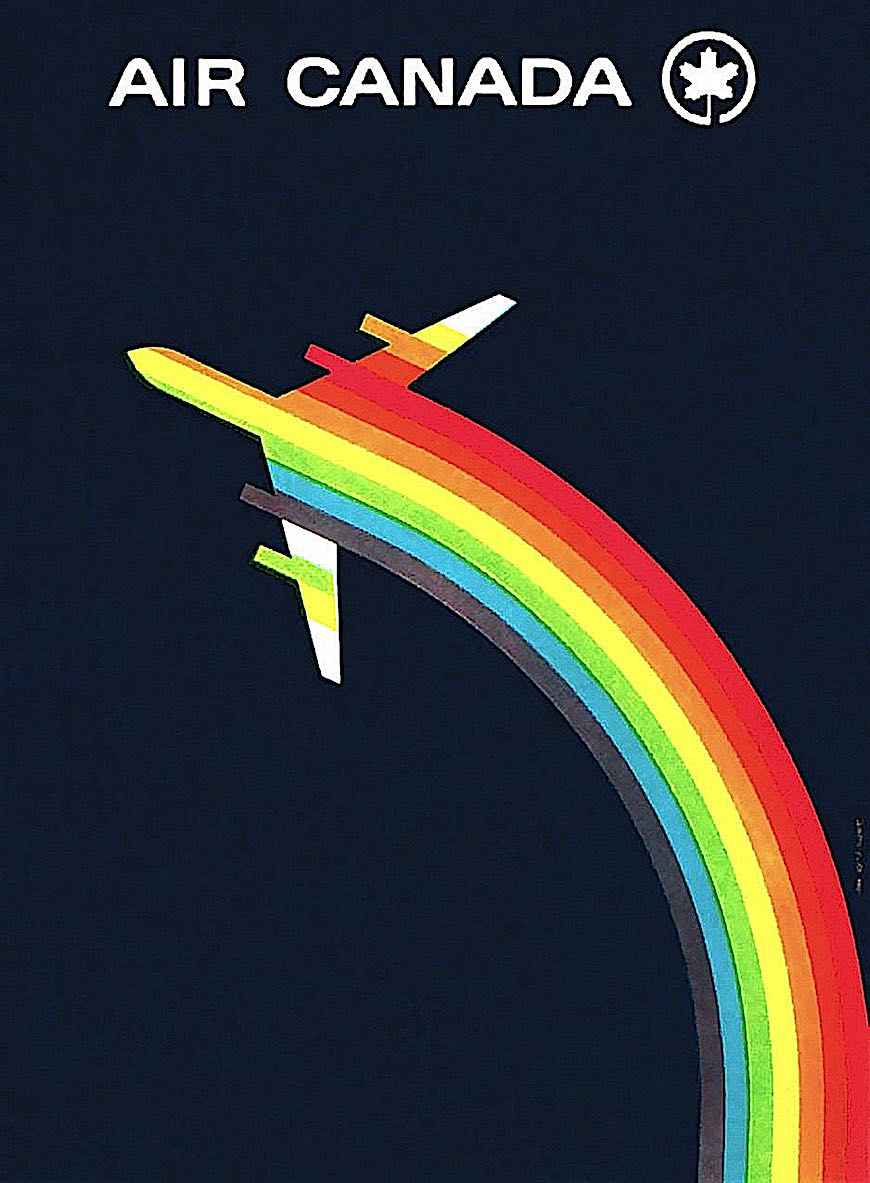 a 1960s Air Canada poster with rainbow