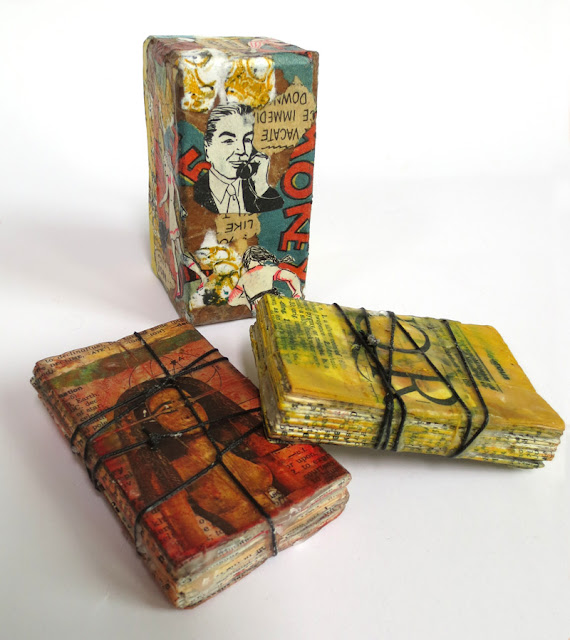 Mini wax collage books