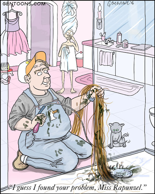 Plumber finds the world's biggest hairball in Rapunzel's shower drain.
