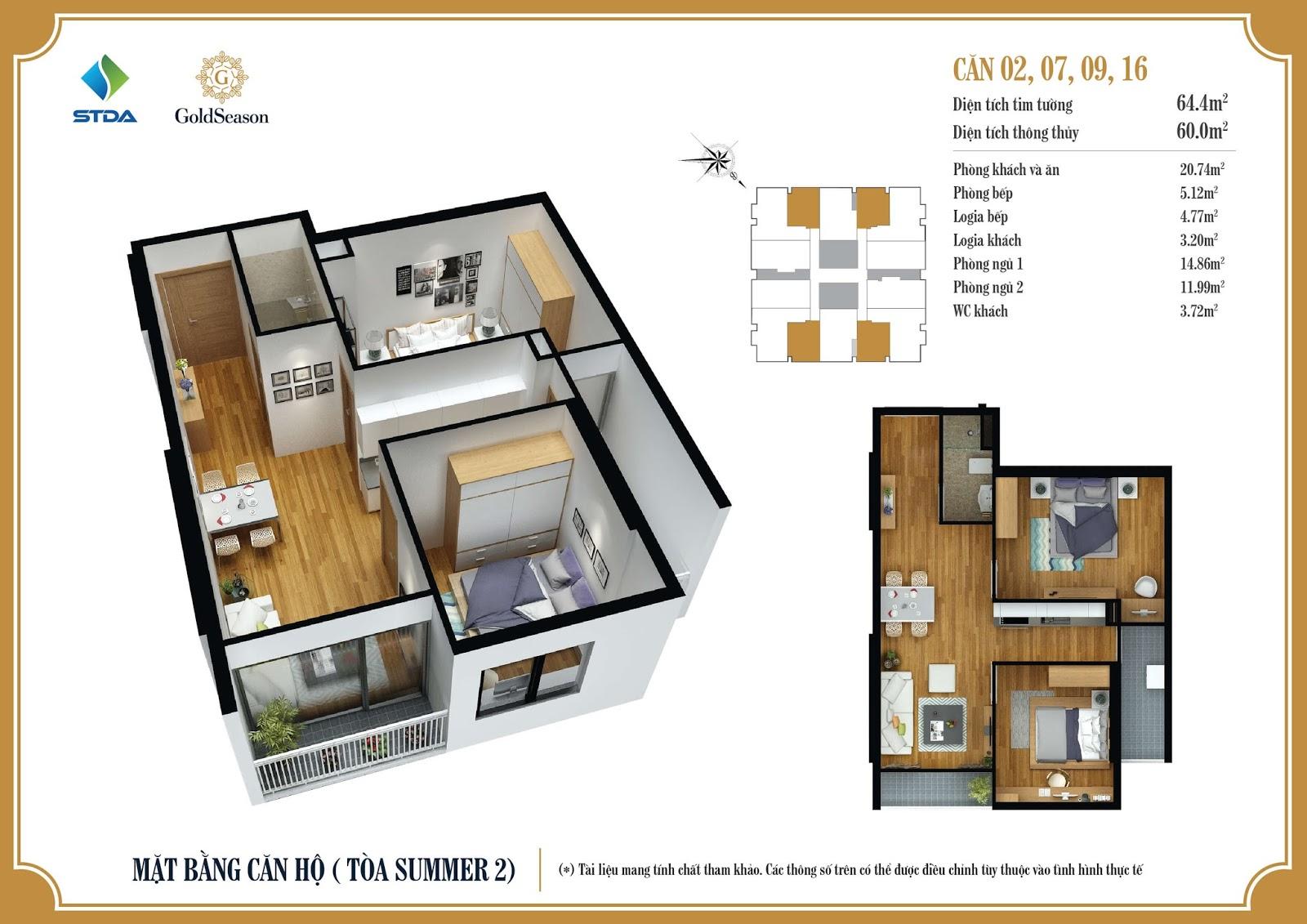 Thiết kế chi tiết mặt bằng căn hộ số 02,07,09 và 16 diện tích 64m2 - GoldSeason