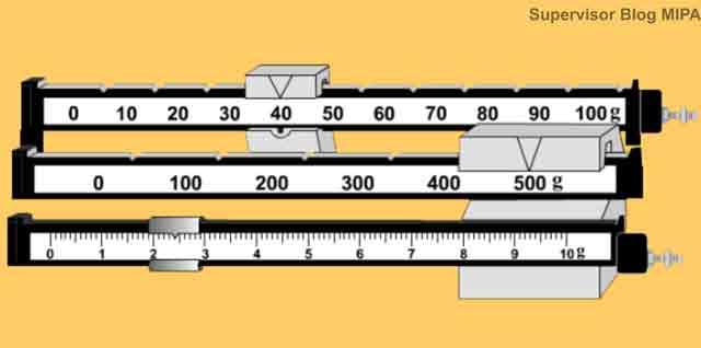 cara membaca skala hasil pengukuran atau penimbangan dengan neraca ohaus