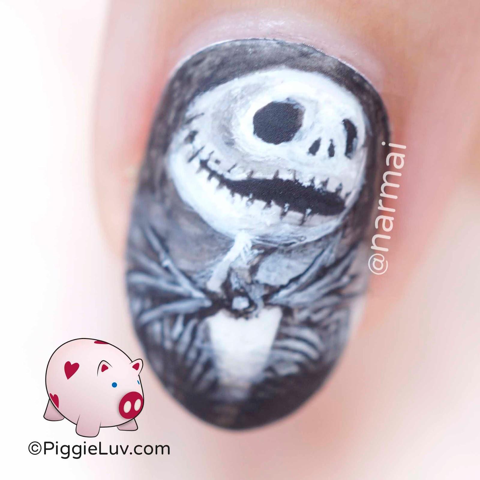 PiggieLuv: Jack Skellington nail art for Halloween