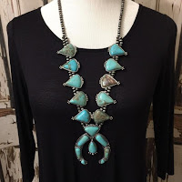 Squash Blossom Natural Turquoise Necklace Naja Navajo Beads