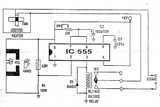 555 IC PROJECT: ELECTRONIC HAND DRYER Hand Schematic on