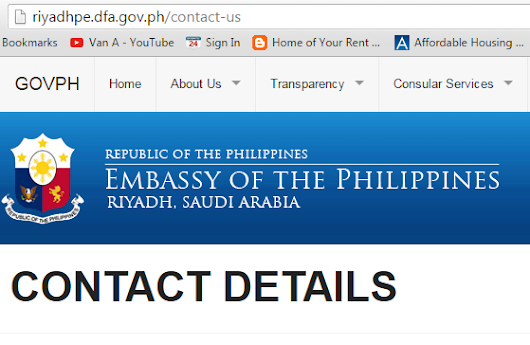 PHILIPPINE EMBASSY IN SAUDI ARABIA: CONTACT DETAILS / CONSULAR (RED RIBBON) / PASSPORT RENEWAL / MARRIAGE
