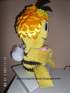 Na prezent, pszczółka, maja, z papieru, origami modułowe, 3d,