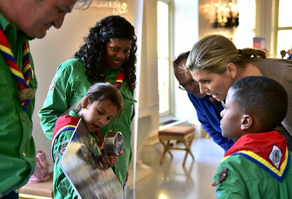 Dutch Queen Maxima wore Natan Dress for receives scouts at Noordeinde Palace, fashion style wore diamond earrings and diamond rings