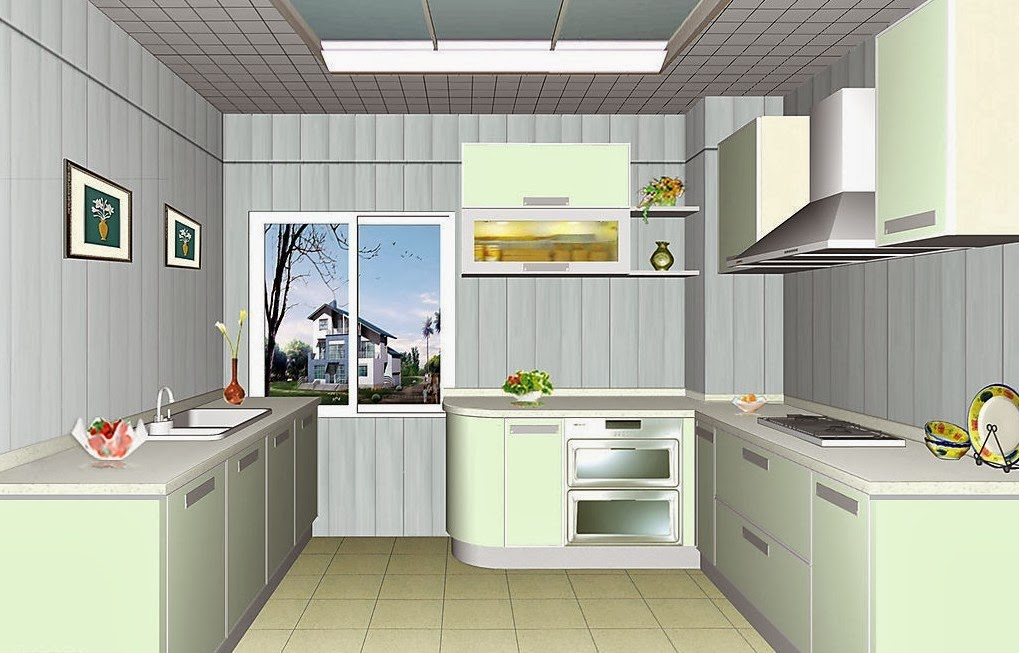Ceiling design ideas for small kitchen 15 designs for Tiny kitchen layout ideas