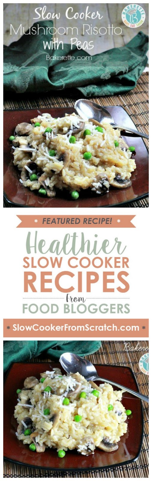 Slow Cooker Mushroom Risotto with Peas from Bakerette featured on SlowCookerFromScratch.com