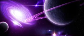 Imagen preciosa del planeta Saturno al lado de una galaxia