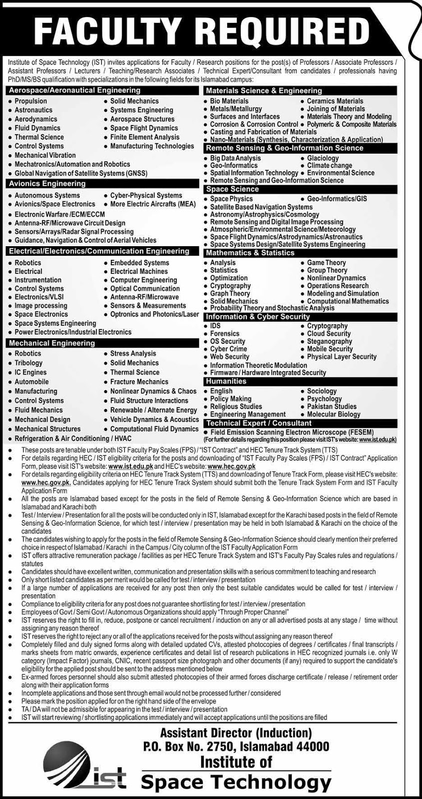 76 Jobs announced in Institute Of Space And Technology | hec.gov.pk