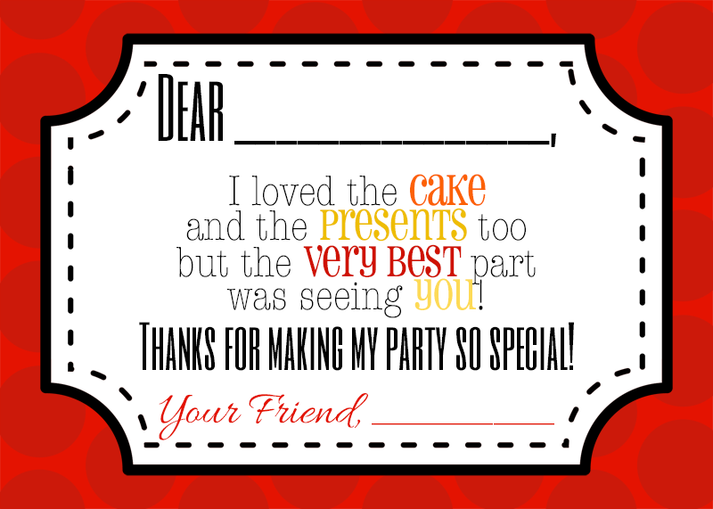Free printable thank you notes for a fireman / firetruck birthday party