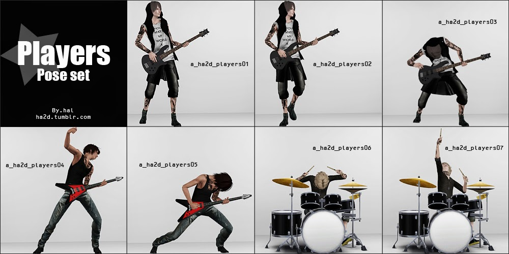 Accessory Electric Bass Guitar And Poses By Ha2d