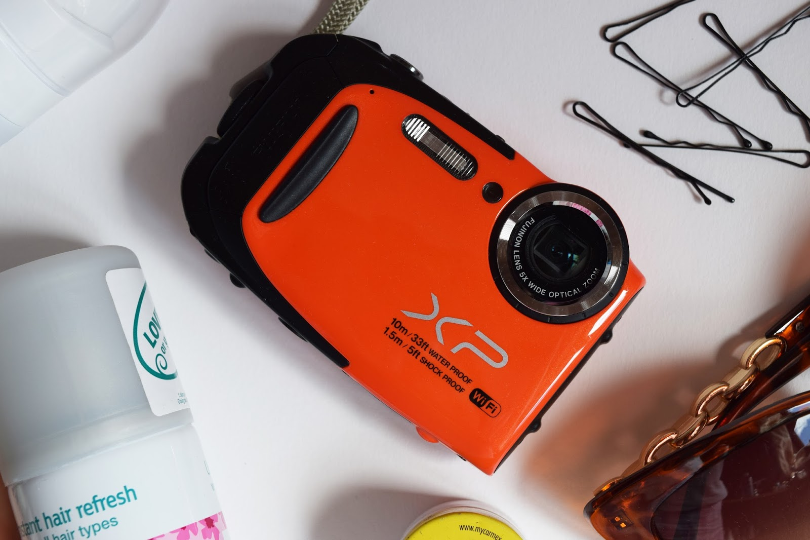 close up shot of the affordable waterproof camera I will be taking camping