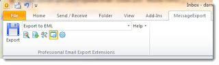 "MessageExport toolbar in Microsoft Office Outlook. Selected is ""Export to EML"""