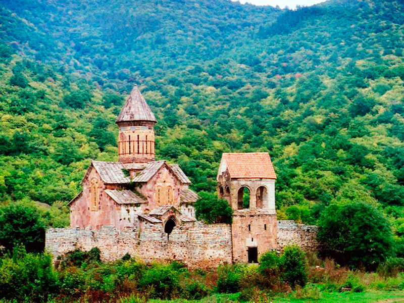 a beautiful view of Pitareti Monastery on Georgia