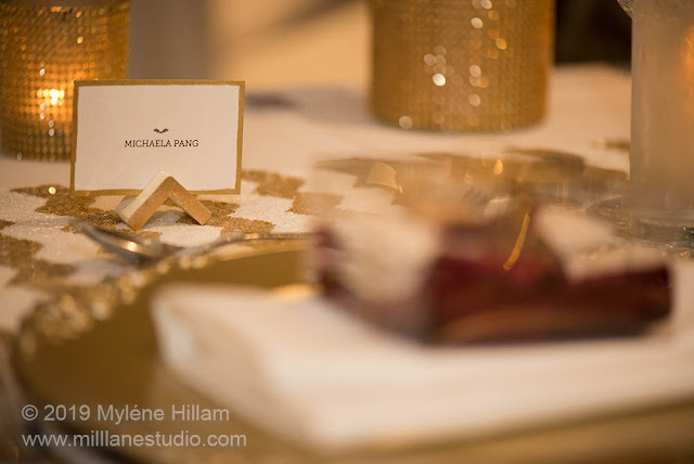 Triangular place card holder for the bridal table.