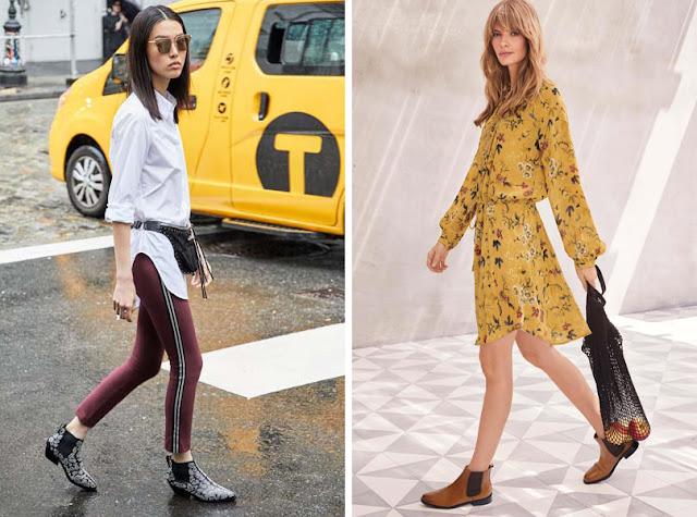 Ботинки челси с брюками с лампасами и с легким платьем