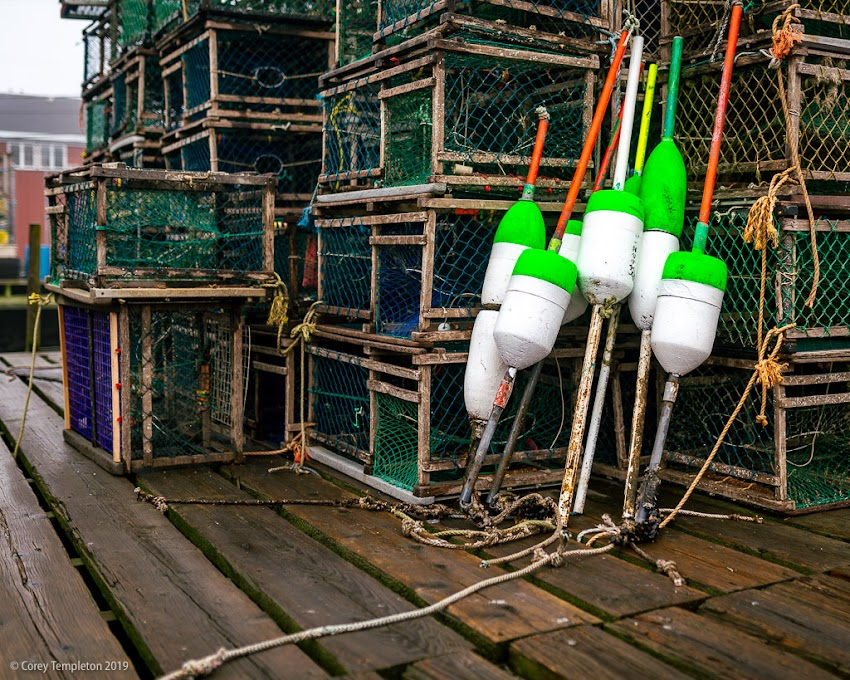 Portland, Maine USA April 2019 photo by Corey Templeton. Buoys and traps at Portland's Widgery Wharf.