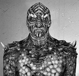 Καλλιτεχνική απεικόνιση  ερπετόμορφο εξωγήινο