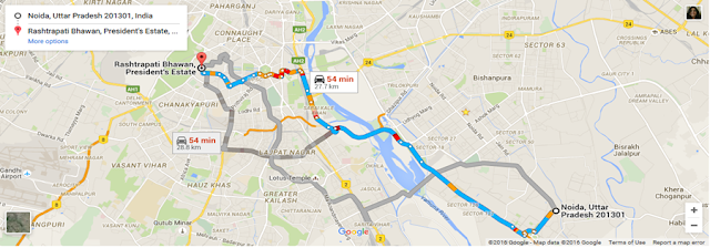 Route Map to Rashtrapati Bhavan from Noida