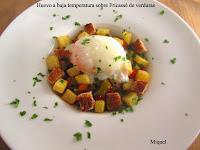 Huevo a baja temperatura sobre fricassé de verduras