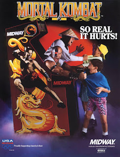 Flyer de la recreativa de Midway Mortal Kombat, 1992 (EEUU)
