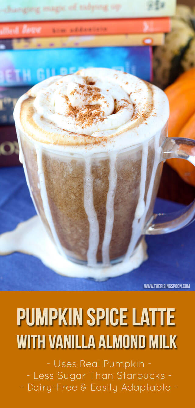 A homemade pumpkin spice latte recipe that's better than Starbucks and vegan-friendly! This version uses a blend of real pumpkin puree, raw sugar or maple syrup, unsweetened almond milk, vanilla extract, pumpkin pie spice, and dark roast coffee or espresso. Making it at home allows you to save money and create a healthier version with less sugar.