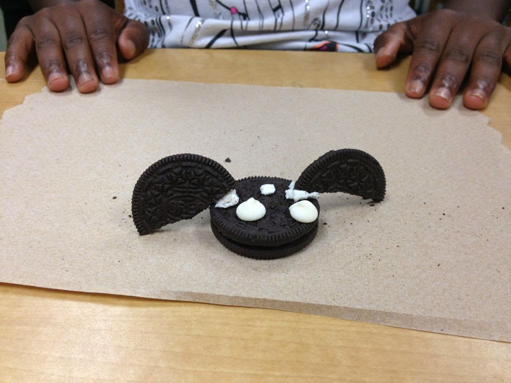 photo of bat made out of oreo cookies