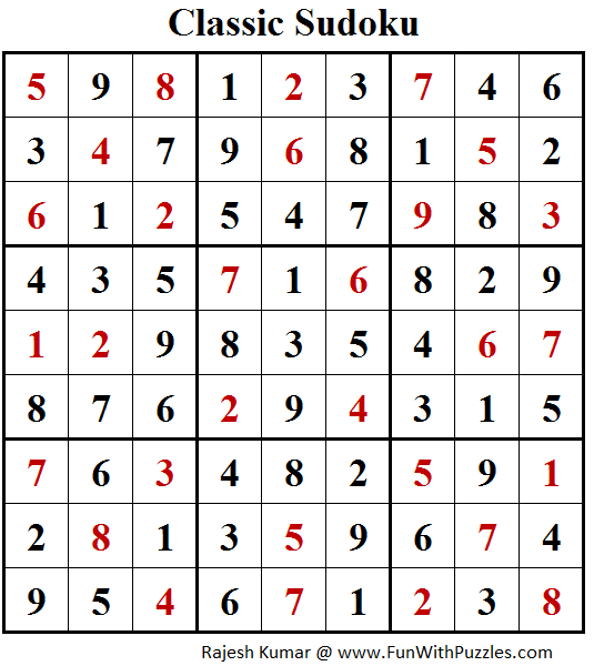 Classic Sudoku Puzzle (Fun With Sudoku #205) Solution
