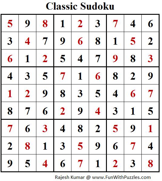 Classic Sudoku Puzzle (Fun With Sudoku #205) Solution