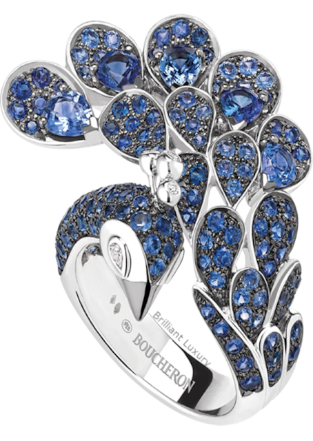 Brilliant Luxury♦Boucheron Paris Héra Peacock sapphires ring