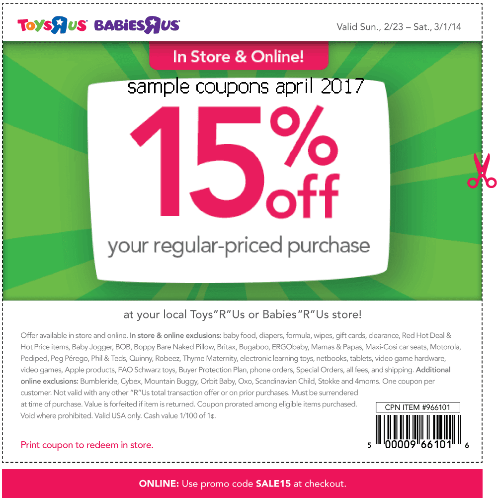 Toys R Us rarely offers promo codes. On average, Toys R Us offers 0 codes or coupons per month. Check this page often, or follow Toys R Us (hit the follow button up top) to keep updated on their latest discount codes. Check for Toys R Us' promo code exclusions. Toys R Us promo codes sometimes have exceptions on certain categories or brands/5().